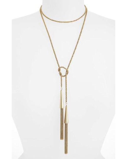 Kendra Scott | Metallic 'phara' Tassel Lariat Necklace | Lyst