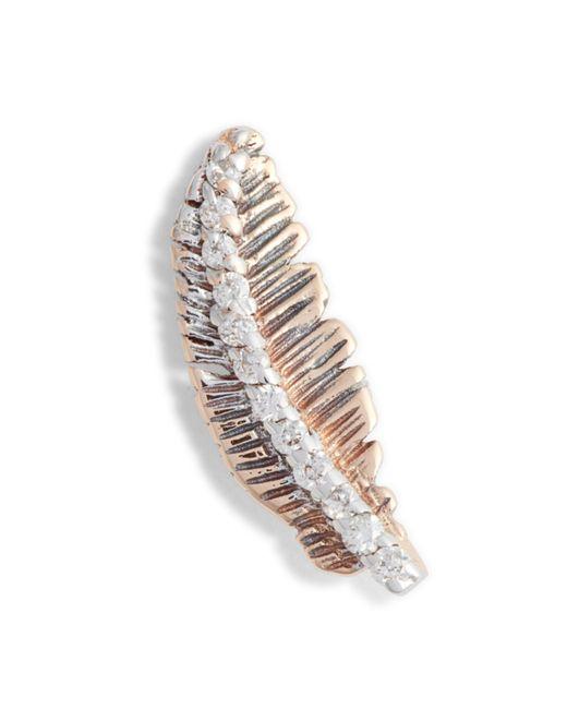 Kismet by Milka - Multicolor Diamond Feather Single Earring - Lyst