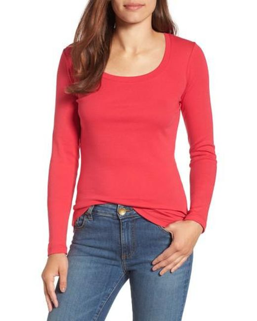Caslon | Red Caslon 'melody' Long Sleeve Scoop Neck Tee | Lyst