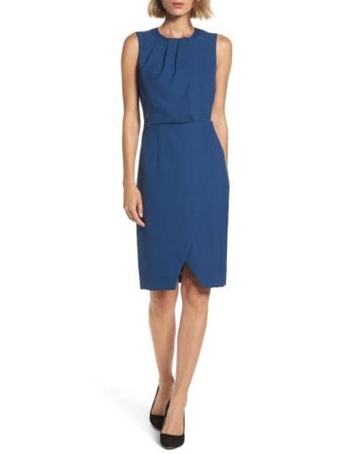 Adrianna Papell | Blue Pleated Neck Sheath Dress | Lyst