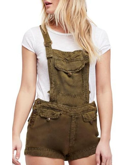 Free People - Green Expedition Short Overalls - Lyst