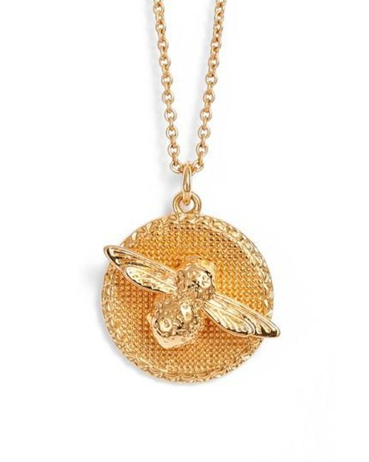 Olivia Burton - Metallic Bee Pendant Necklace - Lyst