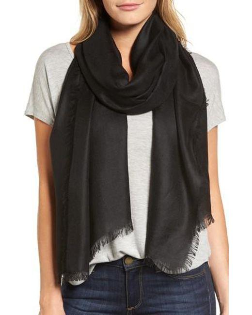 Nordstrom - Black Cashmere Blend Wrap - Lyst