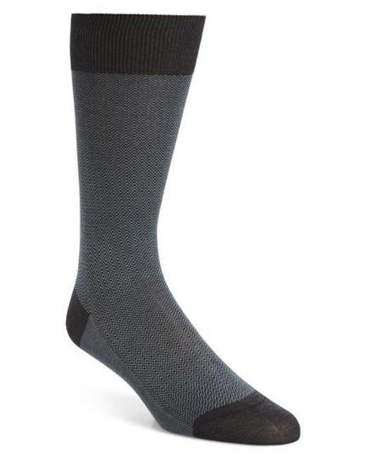 Pantherella - Gray Birdseye Stripe Socks for Men - Lyst