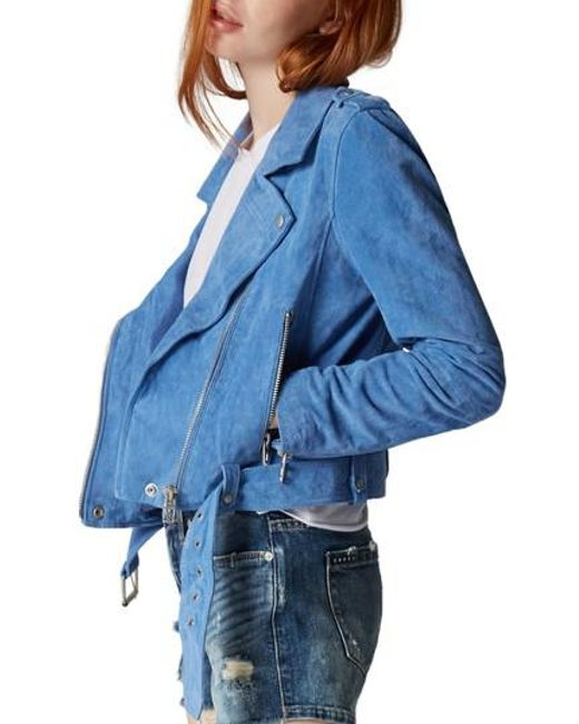 Blank NYC - Blue Suede Moto Jacket - Lyst