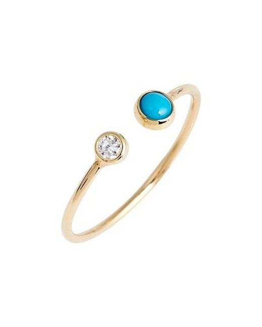 Zoe Chicco - Blue Diamond & Turquoise Open Stack Ring - Lyst
