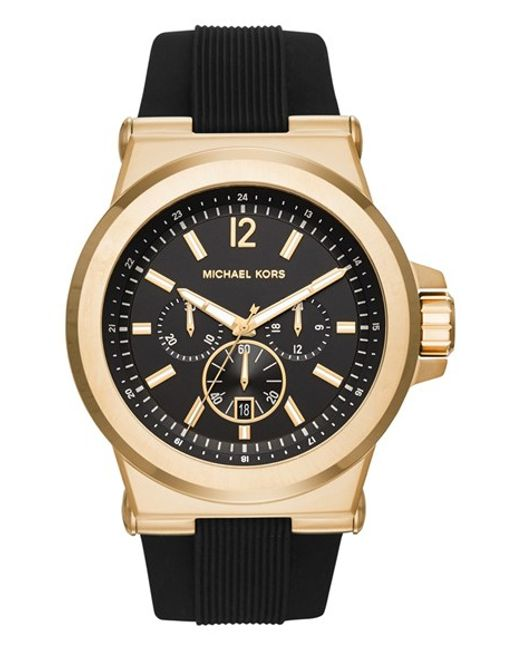 MICHAEL Michael Kors | Metallic Michael Kors 'dylan' Chronograph Silicone Strap Watch for Men | Lyst