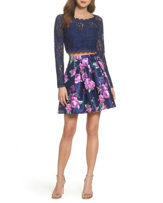 Sequin Hearts - Blue Glitter Lace Two-piece Dress - Lyst