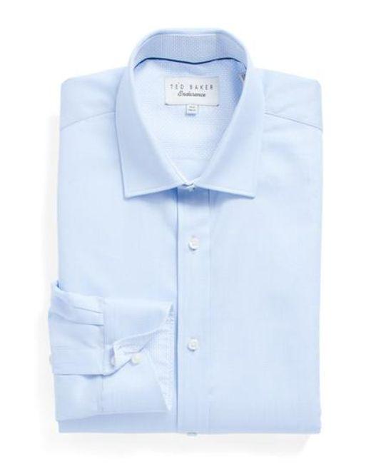 Ted Baker | Blue Brasser Trim Fit Solid Dress Shirt for Men | Lyst