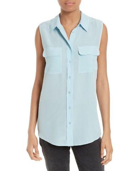 Equipment   Multicolor 'slim Signature' Sleeveless Silk Shirt   Lyst