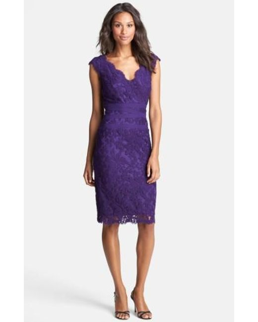 Tadashi Shoji | Purple Embroidered Lace Sheath Dress | Lyst