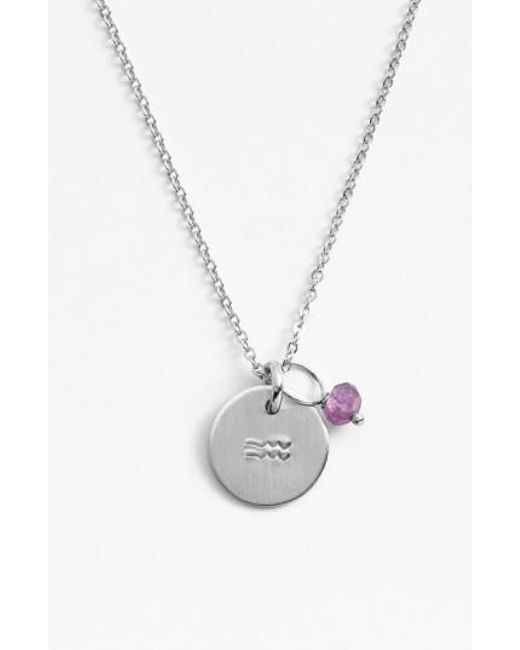 Nashelle | Metallic Semiprecious Birthstone Sterling Silver Zodiac Mini Disc Necklace | Lyst