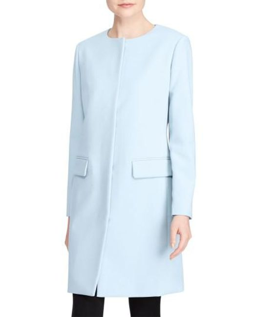 Lauren by Ralph Lauren | Blue Collarless Crepe Topper | Lyst