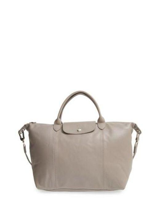 Longchamp   Natural 'le Pliage Cuir' Leather Handbag   Lyst