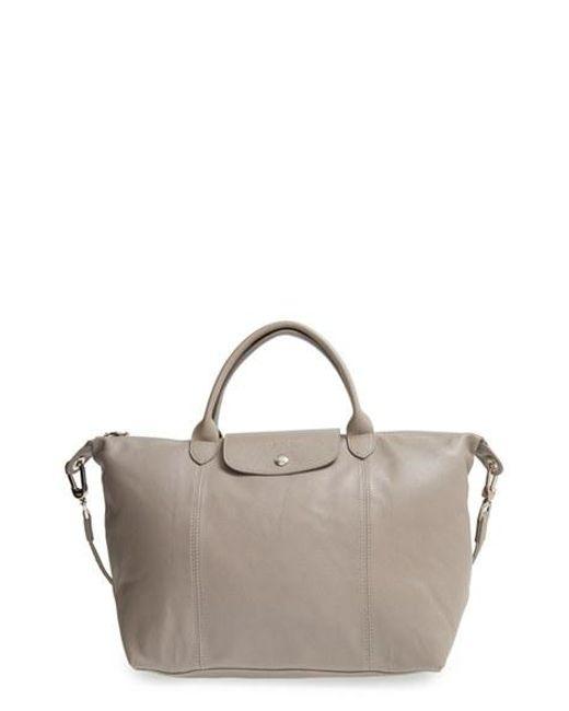 Longchamp | Natural 'le Pliage Cuir' Leather Handbag | Lyst