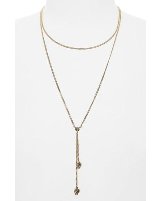 Alexander McQueen - Metallic Thin Chain Necklace - Lyst