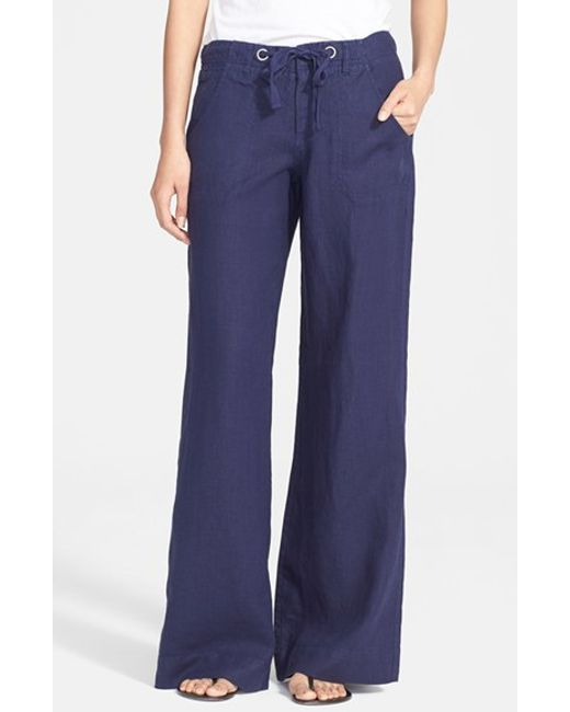 Joie | Blue Wide Leg Linen Pants | Lyst