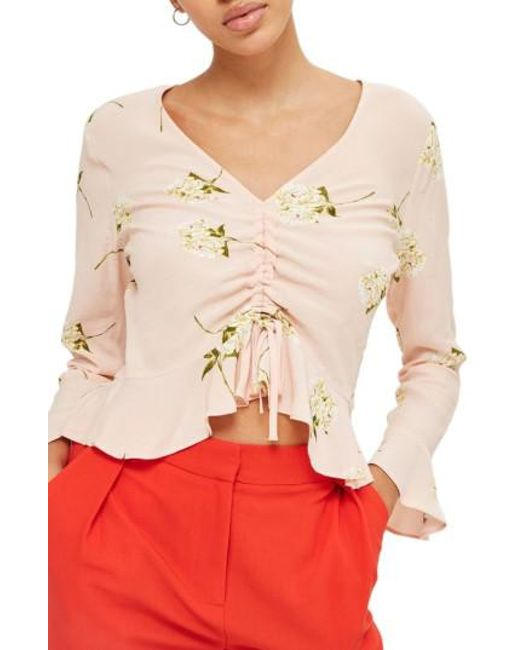 TOPSHOP | Pink Ruby Carnation Ruched Blouse | Lyst