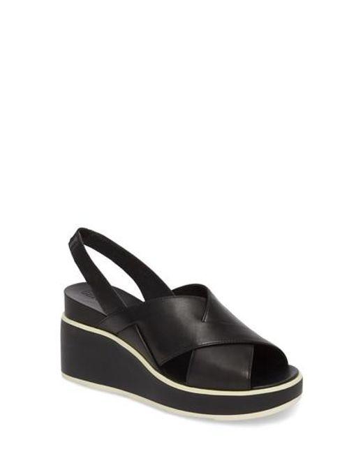 Camper - Black Tropik Cross Strap Wedge Sandal - Lyst