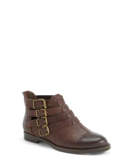 Bella Vita | Brown 'ronan' Buckle Leather Bootie | Lyst