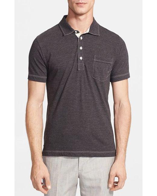 Billy Reid | Gray 'pensacola' Mini Stripe Slim Fit Jersey Polo for Men | Lyst