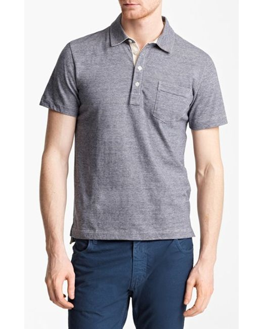 Billy Reid | Blue 'pensacola' Mini Stripe Slim Fit Jersey Polo for Men | Lyst