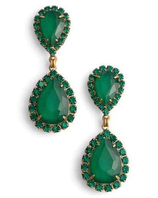 Loren Hope | Green Crystal Drop Earrings | Lyst