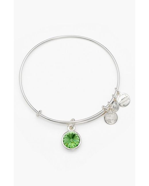 ALEX AND ANI | Green Birthstone Expandable Wire Bangle | Lyst