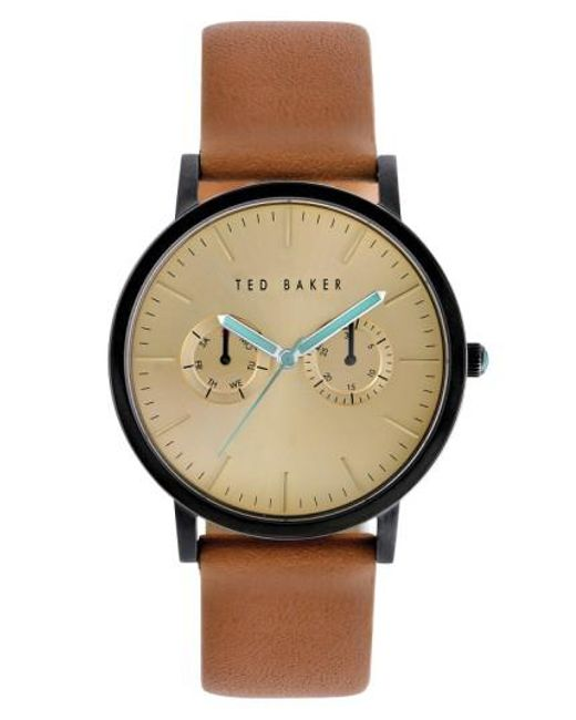 Ted Baker | Brown Multifunction Leather Strap Watch for Men | Lyst