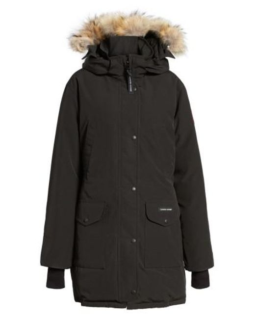 Canada Goose - Black 'trillium' Regular Fit Down Parka With Genuine Coyote Fur Trim - Lyst