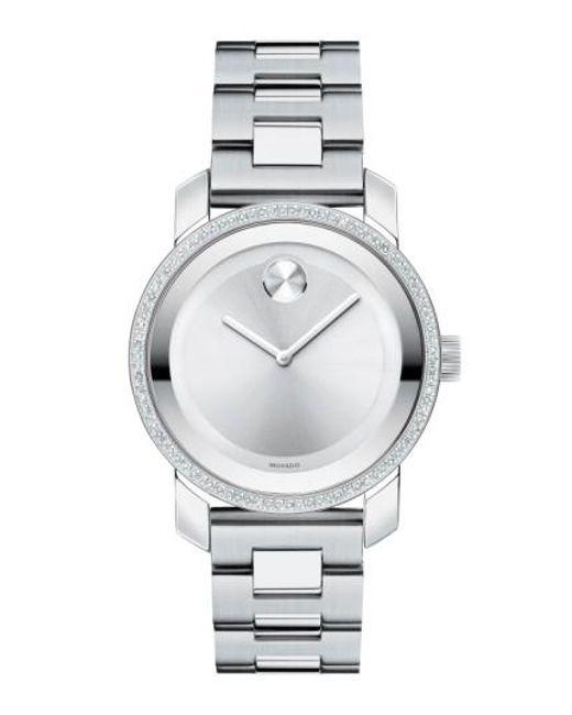 Movado   Metallic 'bold' Diamond Bezel Bracelet Watch   Lyst
