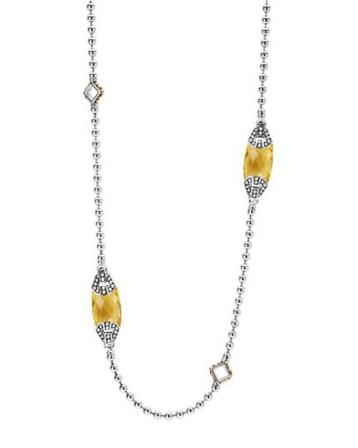 Lagos | Metallic 'caviar Color' Long Semiprecious Stone Station Necklace | Lyst