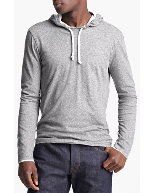 VINCE | Gray Double Layer Hoodie for Men | Lyst