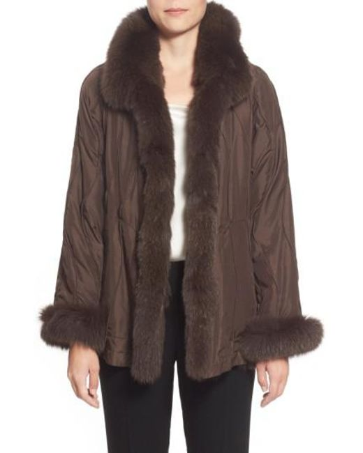 George Simonton | Brown Reversible Silk & Genuine Fox Fur Topper | Lyst