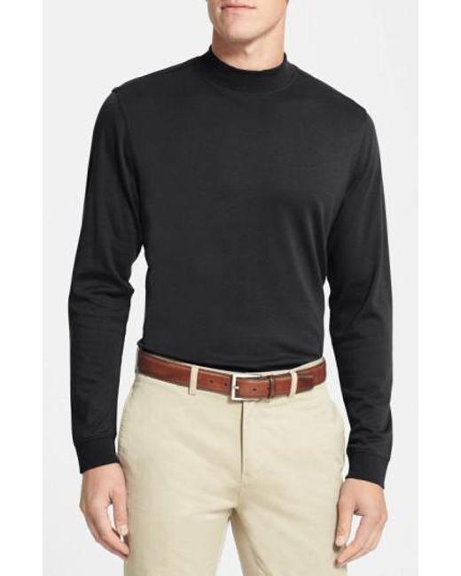 Cutter & Buck - Black Long Sleeve Mock Neck Pima Cotton T-Shirt for Men - Lyst