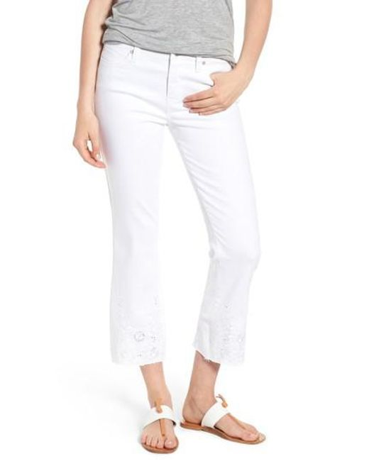 Liverpool Jeans Company - White Hannah Embroidered Raw Hem Jeans - Lyst