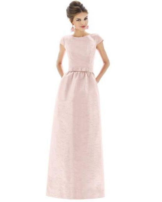 Alfred Sung | White Cap-Sleeved Dupioni Full-Length Dress | Lyst