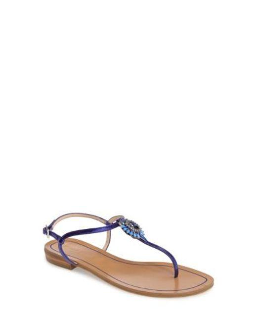 Pelle Moda | Blue Baxley 3 Crystal Embellished Sandal | Lyst