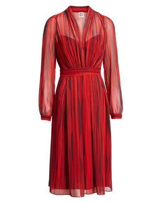 Anne Klein | Red Print Georgette Long Sleeve V-neck Fit & Flare Dress | Lyst