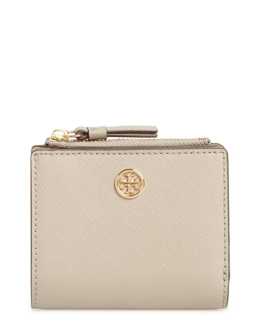 Tory Burch - Natural Mini Robinson Wallet Leather Bifold Wallet - - Lyst