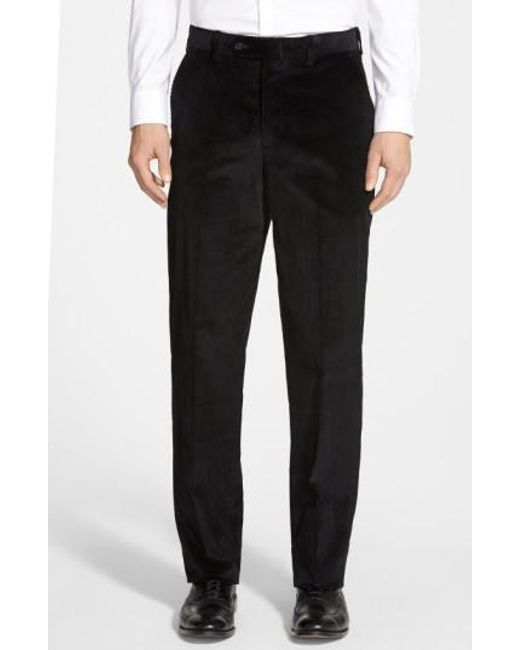 Berle | Black Flat Front Corduroy Trousers for Men | Lyst