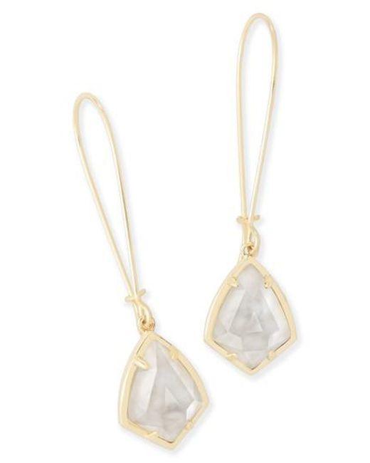 Kendra Scott | White 'carrine' Semiprecious Stone Drop Earrings | Lyst