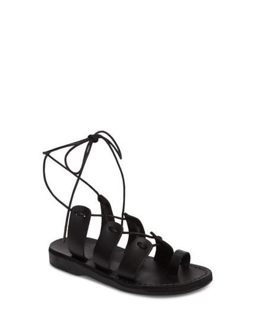 Jerusalem Sandals - Black Deborah Wraparound Laces Sandal - Lyst