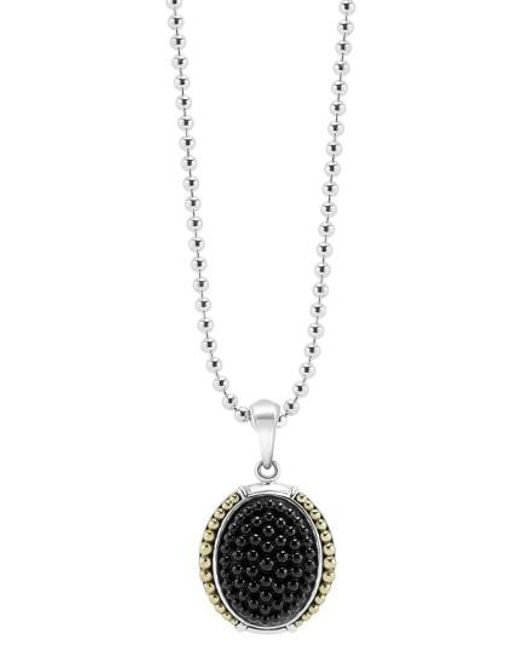 Lagos   Metallic 'black Caviar' Oval Pendant Necklace   Lyst