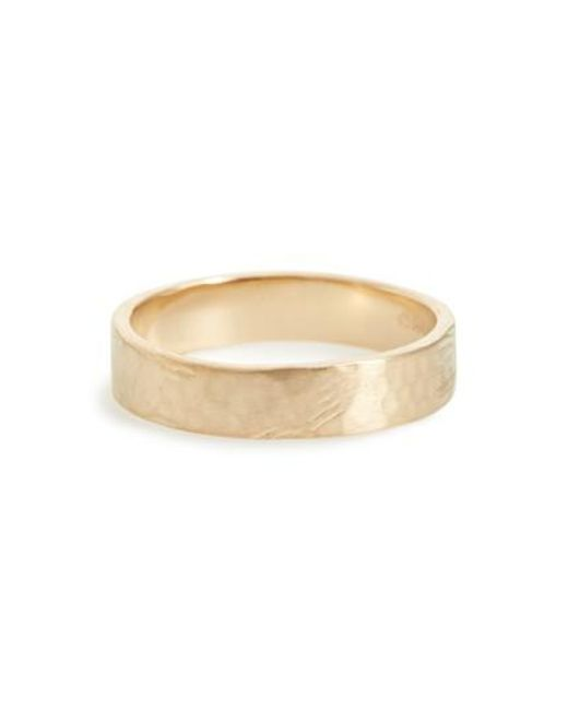 Wwake - Yellow Harmony Flat Classic Hammered Band Ring (nordstrom Exclusive) - Lyst