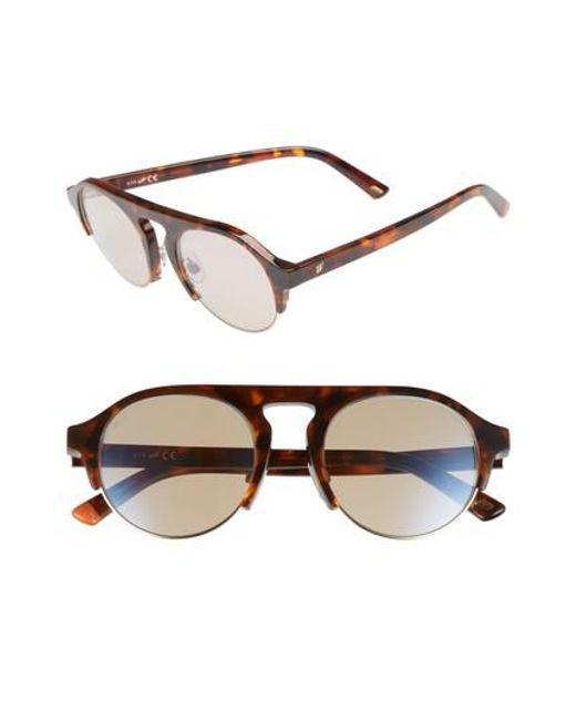 Web - 52mm Sunglasses - Dark Havana/ Brown Mirror - Lyst