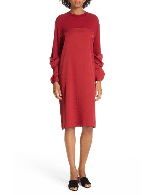 CLU - Red Mixed Media Shift Dress - Lyst