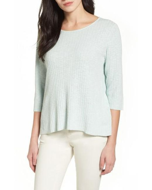 Eileen Fisher | Multicolor Ribbed Organic Linen & Cotton Sweater | Lyst