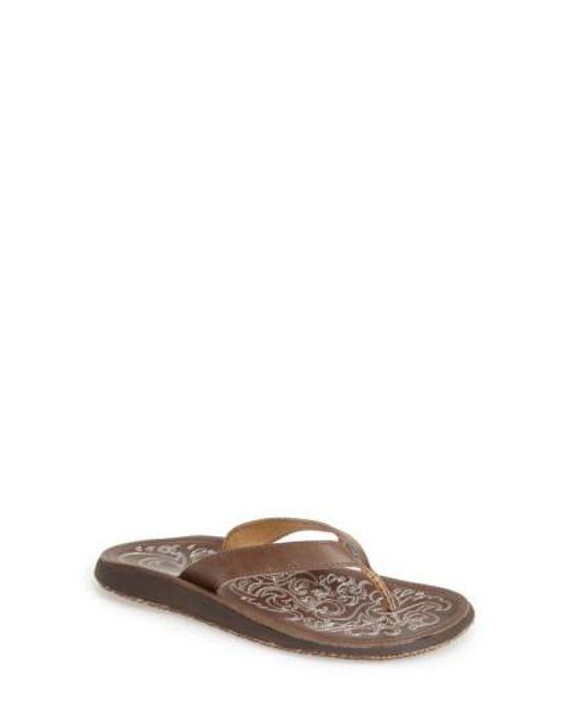 Olukai | Brown 'Paniolo' Thong Sandal | Lyst