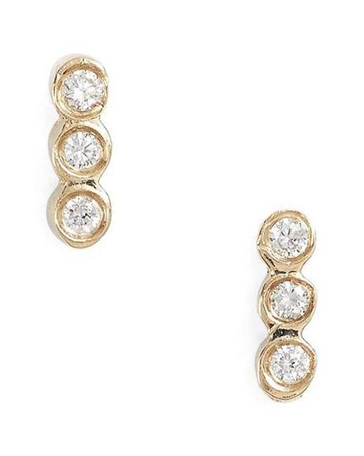 Zoe Chicco | Metallic Diamond Bezel Bar Stud Earrings | Lyst